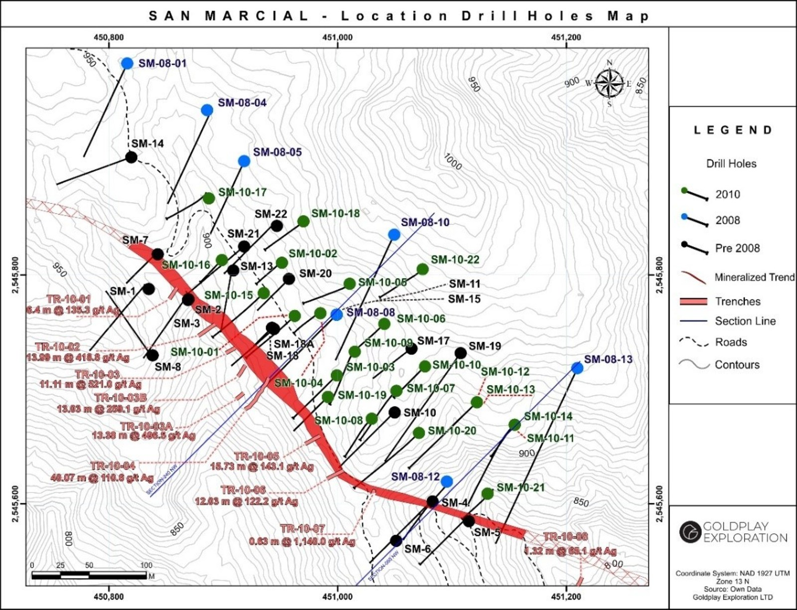 Figure 1: Drill Hole Location Map San Marcial Project