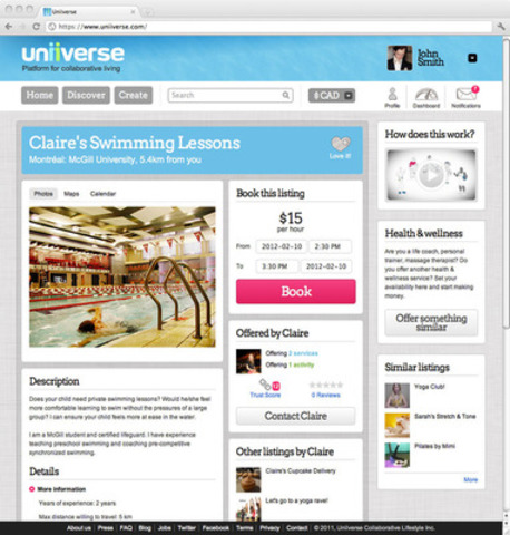 Screenshot of a user's listing details for swimming lessons posted on Uniiverse (CNW Group/Uniiverse)
