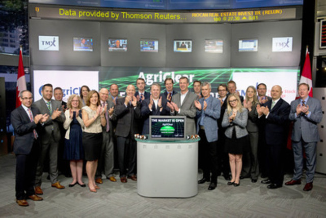 AgriClear Founders & Joint Partners David Moss, Roland Labuhn and Nevil Speer joined Jim Oosterbaan, President, TMX NGX to open the market to celebrate the launch of AgriClear. AgriClear, a wholly-owned subsidiary of TMX Group Limited, is a transformational web-based platform that connects U.S. and Canadian cattle producers. Cattle marketers can now securely list, transact, and be assured of payment from their computer, phone, or tablet. AgriClear operations benefit from the financial support and clearing expertise of NGX, which offers trading and clearing services for natural gas, crude oil and electricity contracts. For more information please visit agriclear.com. (CNW Group/Toronto Stock Exchange)