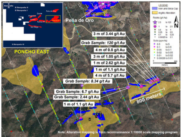 Figure 1 - Poncho East Results Map (CNW Group/Cayden Resources Inc.)