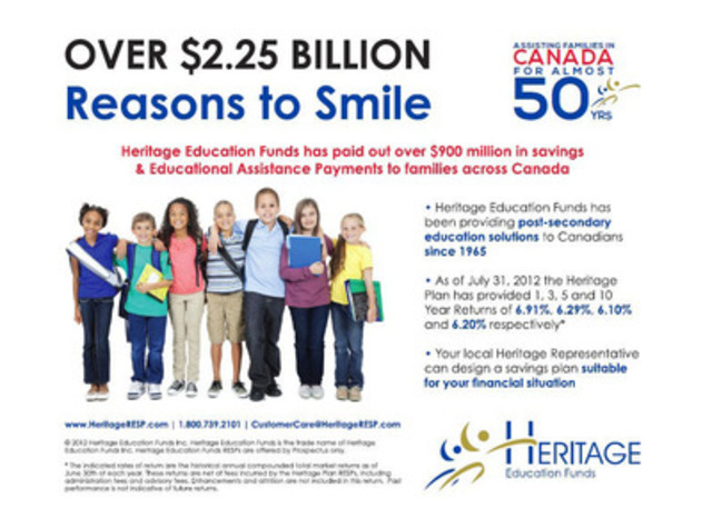 Heritage Education Funds has paid out over $900 million in savings and Educational Assistance Payments to families in Canada. With over $2.25 billion in assets under management and almost 50 years of RESP experience, Heritage can help you make your child's dream come true. (CNW Group/Heritage Education Funds Inc.)