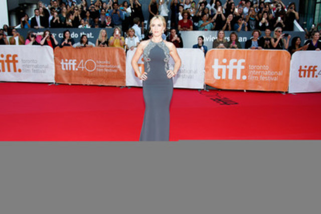 Kate Winslet on the Hudson's Bay striped carpet during the Toronto International Film Festival in 2015. Photo credit: George Pimentel Photography (CNW Group/Hudson's Bay)