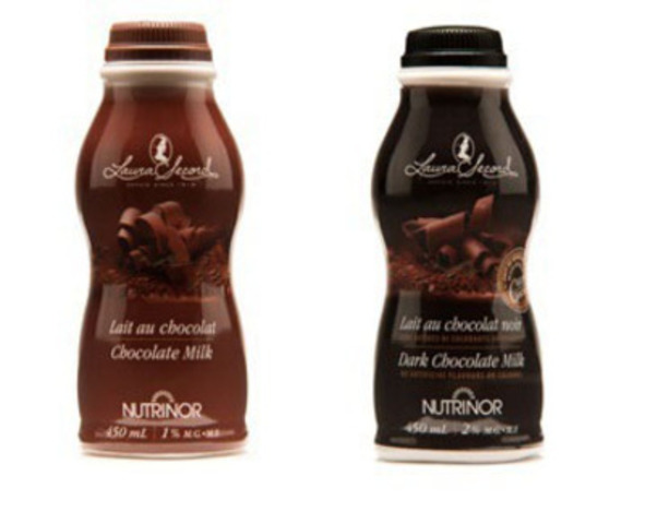 Lait au chocolat Laura Secord de Nutrinor 450 ml et Lait au chocolat noir Laura Secord de Nutrinor 450 ml (Groupe CNW/Nutrinor)