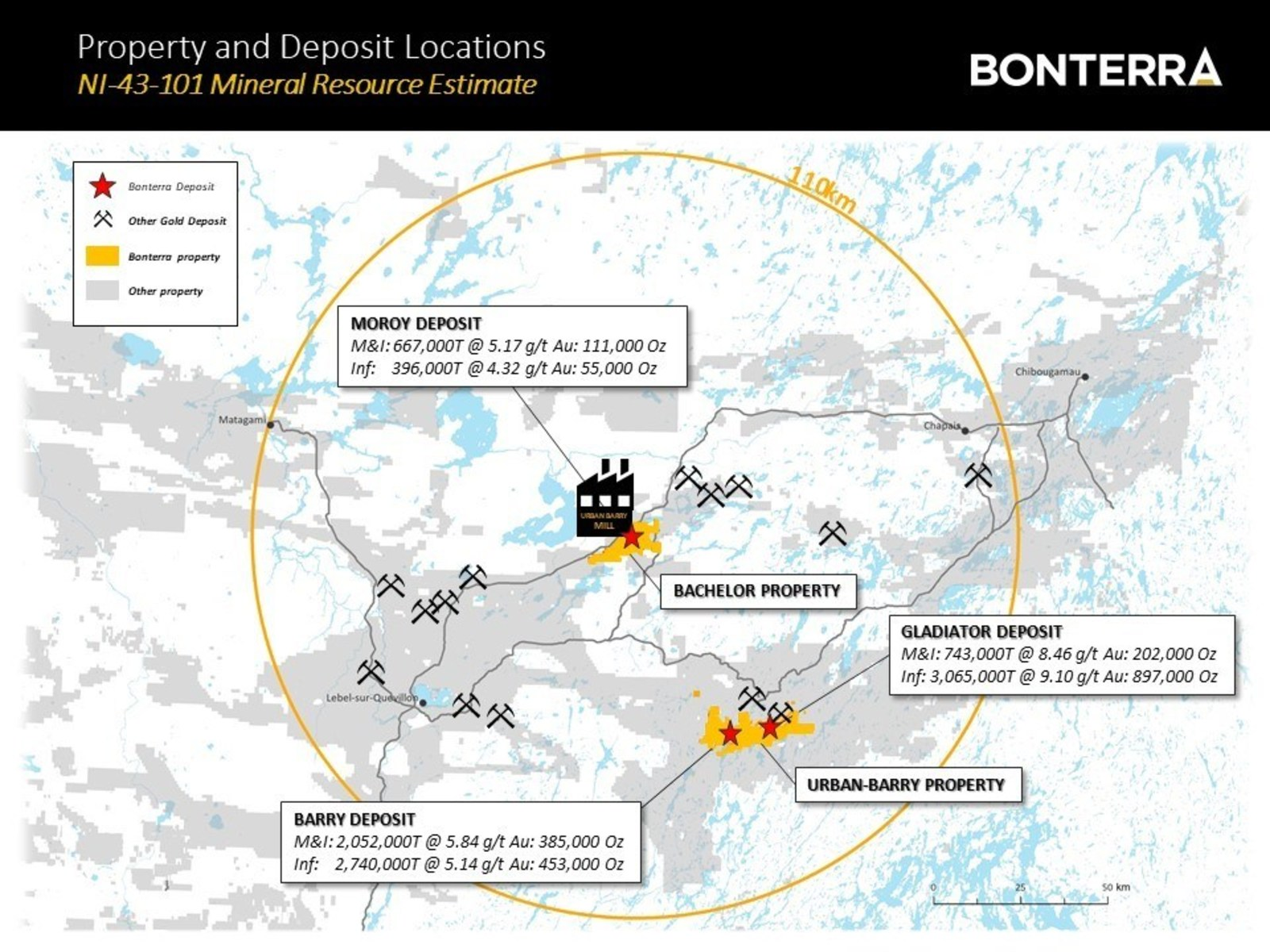Property and Deposit Locations - NI 43 101 Mineral Resource Estimate