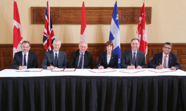 McGill University, the University of Oxford and the Neuroscience Center Zurich signed a partnership agreement today in Montreal aimed at enhancing their research collaborations in neuroscience. For more information: https://www.mcgill.ca/brain/launch-tripartite-partnership-neuroscience (CNW Group/McGill University)