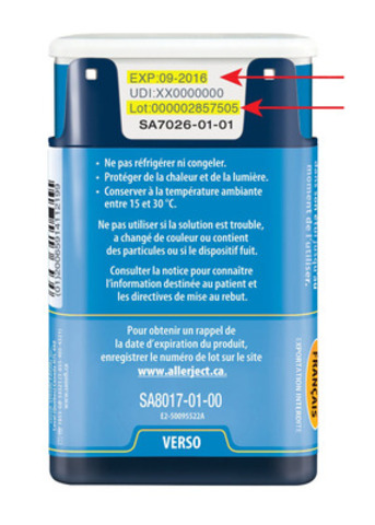 Allerject 0,15 mg/0,15 mL auto-injecteur d'épinéphrine (Groupe CNW/Sanofi Canada)