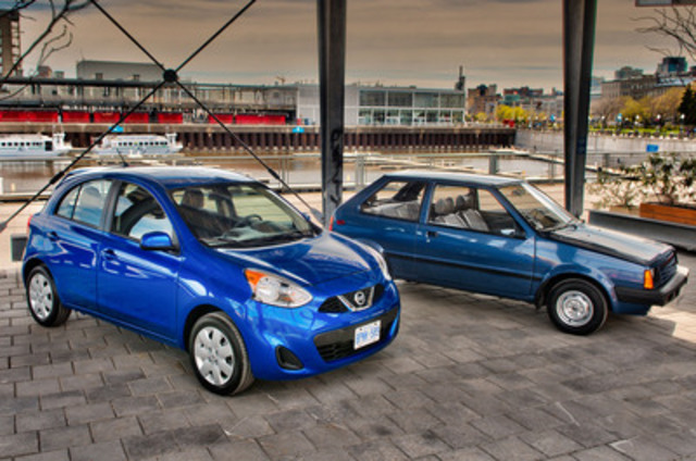 Karen Ackroyd's 1987 Micra and the all-new 2015 Nissan Micra SV side-by-side in Montréal (CNW Group/Nissan Canada Inc.)