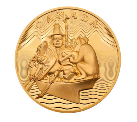 With a mintage of only 15 pieces, The Spirit of Haida Gwaii $100,000 face value coin is the world's first 10-kilogram coin, crafted of 99.999% pure gold. Two of these exclusive coins will be available for purchase through Canadian PMX on November 3, 2011. (CNW Group/Royal Canadian Mint) (CNW Group/Canadian PMX)
