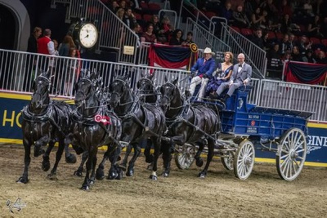 Third place in the $25,000 Royal Six-Horse Championship went to the winners of the $2,500 Percheron Six-Horse Hitch class, the team from All-Star Farms. Photo by Ben Radvanyi Photography (CNW Group/Royal Agricultural Winter Fair)
