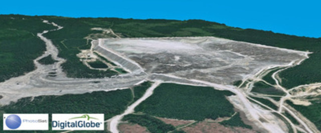 3D view of Mount Polley tailings spill into Hazeltine Creek, derived from PhotoSat's satellite topography. (CNW Group/PhotoSat Information Ltd)