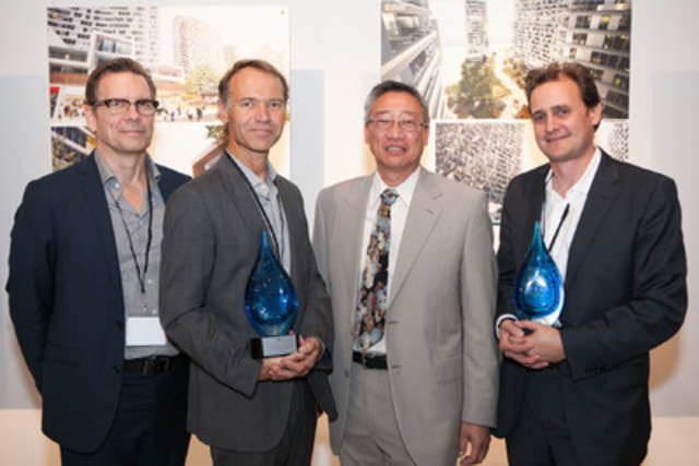 Winners of the Harmony Village Lake Simcoe Architectural Design Competition. (From left to right: David Leinster & Roland Colthoff of RAW Design, Jack Pong, CEO & President of City Core Developments and David Dow of Diamond Schmitt Architects) (CNW Group/Harmony Village)