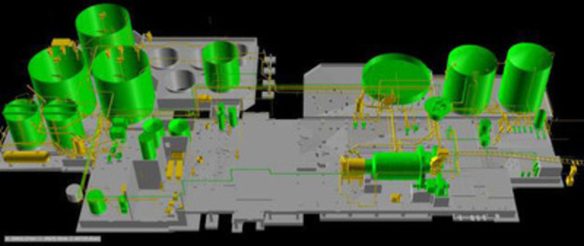 Figure 1: Initial Production Model of mill facility. (Items in green have been installed. Installation of items in yellow are in progress.(CNW Group/AuRico Gold Inc.)