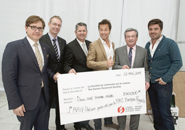 In the usual order : Mr. Tony Loffreda, Regional Vice-President-Commercial Financial Services, Western Quebec, RBC Royal Bank, Mr. Éric Bouchard, Senior Vice-President, Pharmaprix, Mr. Martin Thibodeau, President, Quebec Headquarters, RBC Royal Bank, Mr. Stéphane Rousseau, spokesperson for the Cancer Research Society, Mr. Andy Chabot, President and Chief Executive Officer, Cancer Research Society, and Mr. Louis-François Marcotte, guest chef for the event. (CNW Group/Cancer Research Society)