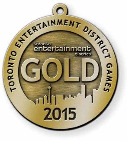 Actual medal for the 2015 Toronto Entertainment District Games (CNW Group/Toronto Entertainment District Business Improvement Area)