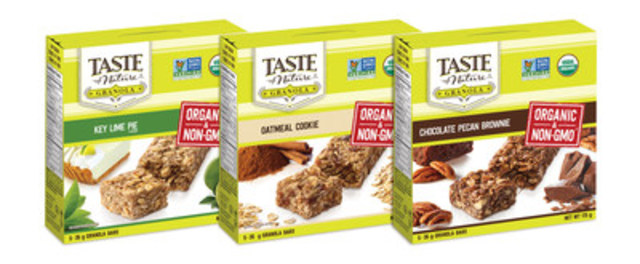 New Taste of Nature Granola bars brings Organic to the granola aisle. (CNW Group/Taste of Nature Foods Inc.)
