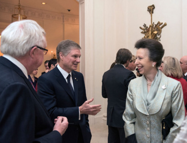 HRH The Princess Royal, Princess Anne speaks with The Right Honourable Joe Clark (left) and Paul Desmarais Jr. (centre), at a dinner hosted by Power Corporation to highlight the work of Emerging Leaders' Dialogues Canada, the Canadian arm of The Duke of Edinburgh's Commonwealth Study Conferences. [photo credit] Anick Valiquette (CNW Group/ELD Canada)