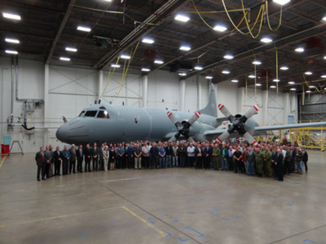 The 100th Heavy Maintenance CP-140 Aurora Delivery to the Royal Canadian Air Force (RCAF).  IMP Aerospace employees and RCAF personnel in attendance. (CNW Group/IMP GROUP LTD.)