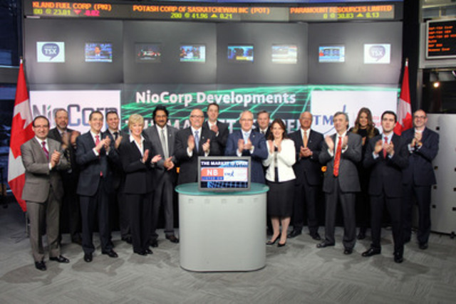 Mark A. Smith, Executive Chairman and CEO, NioCorp Developments Ltd. (NB) joined Carlos Espinosa, Head, Business Development, Global Mining, Toronto Stock Exchange & TSX Venture Exchange to open the market. NioCorp is currently developing a high grade - large tonnage Niobium deposit project located near Elk Creek, Nebraska. (CNW Group/TMX Group Limited)