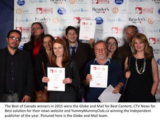 The Best of Canada winners in 2015 were the Globe and Mail for Best Content, CTV News for Best solution for their news website and YummyMummyClub.ca winning the Independent publisher of the year. Pictures here is the Globe and Mail team. (CNW Group/Canadian Online Publishing Awards (COPA))