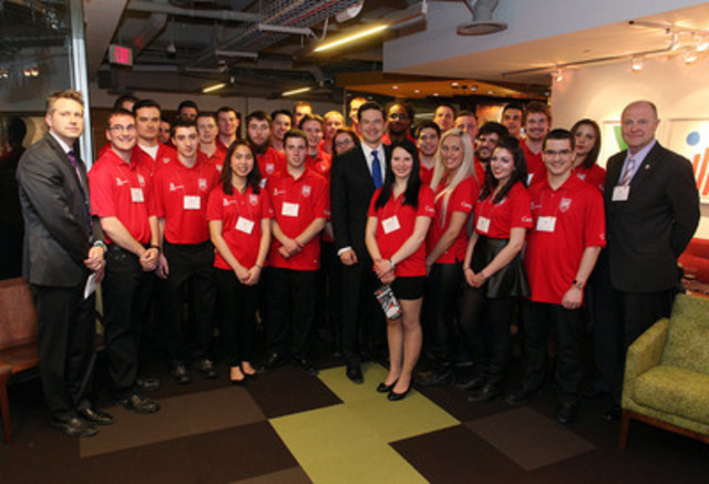 The Honourable Pierre Poilievre, Minister of Employment and Social Development Canada and Minister for Democratic Reform, John Oates, President of Skills/Compétences Canada and Shaun Thorson, Chief Executive Officer of Skills/Compétences Canada attended a reception to congratulate the official members of WorldSkills Team Canada 2015. (CNW Group/Skills/Compétences Canada)