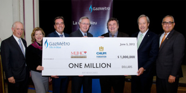 John A. Rae, Chairman of the MUHC's Best Care for Life Campaign; Marie-Josée Gariépy, President of the Montreal Children's Hospital Foundation; Normand Rinfret, Interim Director General and CEO of the MUHC; Jean Houde, Chairman of the Board of Directors of Gaz Métro; Christian Paire, Director General and CEO of CHUM; Guy Savard, Chairman of the Fondation du CHUM Capital Campaign Cabinet; Ékram Antoine Rabbat, President and CEO of the Fondation du CHUM. (CNW Group/McGill University Health Centre Foundation (MUHC))