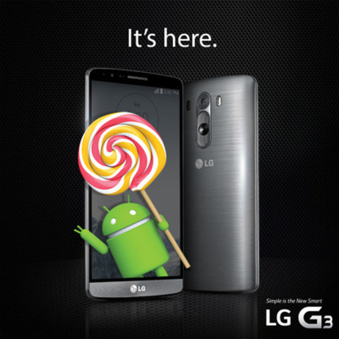Android 5.0 Lollipop now available on LG G3. (CNW Group/LG Electronics Canada)