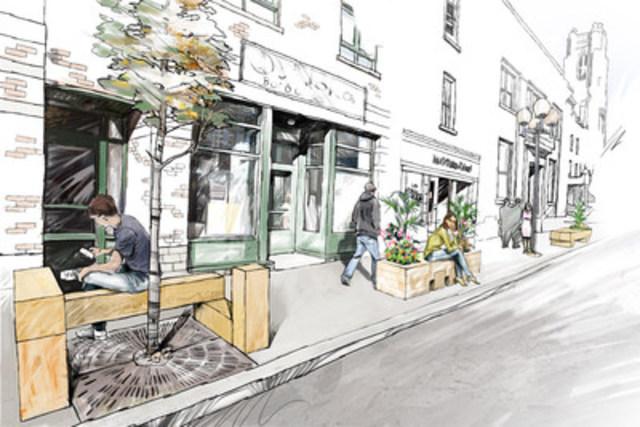 Voici une illustration de l'installation du mobilier urbain fait de frêne recyclé sur une artère commerciale de Rosemont - La Petite-Patrie. (Groupe CNW/Ville de Montréal - Arrondissement de Rosemont - La Petite-Patrie)