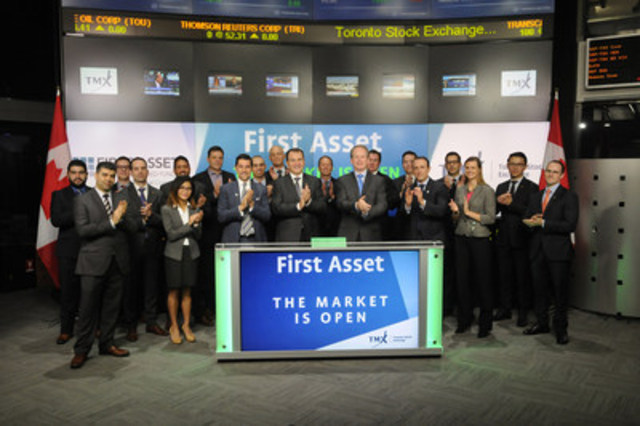 Barry Gordon, President and Chief Executive Officer, First Asset, a CI Financial Company, joined Shaun McIver, Chief Client Officer, Equity Capital Markets, TMX Group to open the market to launch two new Exchange-Traded Funds (ETFs): First Asset Canadian Buyback Index ETF (FBE); and First Asset U.S. Buyback Index ETF (FBU). First Asset, a CI Financial Company, is an established ETF provider in Canada offering a suite of 45 ETFs, with a market capitalization of $2.2 billion, covering all major developed markets and most asset classes. FBE; and FBU; commenced trading on Toronto Stock Exchange on September 13, 2016. (CNW Group/TMX Group Limited)