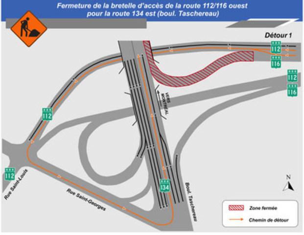 Carte illustrant le détour 1 pour la fermeture complète de la bretelle de la route 112/116 ouest vers la route 134 est. (Groupe CNW/Ministère des Transports)