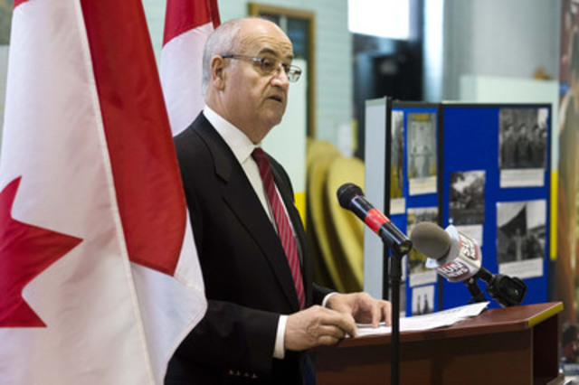 Minister Fantino announces Canada's intent to provide financial support to help D-Day Veterans and the battle of Normandy to attend the 70th anniversary commemorative event in France of June 6, 2014. (CNW Group/Veterans Affairs Canada)