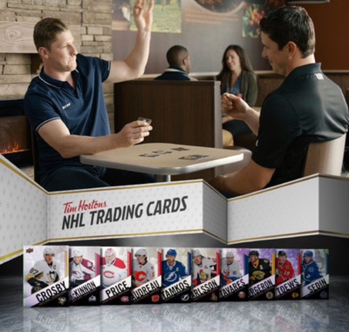 Sidney Crosby and Nathan MacKinnon surprise guests and help launch Tim Hortons Collector's Series NHL Trading Cards (CNW Group/Tim Hortons)