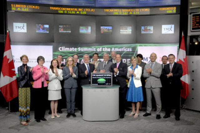 Dirk Forrister, CEO of the International Emissions Trading Association and William (Bill) R. Tharp, Co-Chair of University of Toronto Environmental Finance Advisory Committee, joined Robert Peterman, Director, Global Business Development, Toronto Stock Exchange & TSX Venture Exchange to open the market to mark this week's Climate Summit of the Americas in Toronto.  The Climate Summit, hosted by the Province of Ontario, brings together Pan-American jurisdictions, as well as environmental groups and industry, to work towards common approaches to reducing greenhouse gas emissions through broader adoption of carbon pricing mechanisms, and highlight opportunities for investing in a global low-carbon economy.  For more information please visit http://www.ontario.ca/environment-and-energy/climate-summit-americas/. (CNW Group/TMX Group Limited)