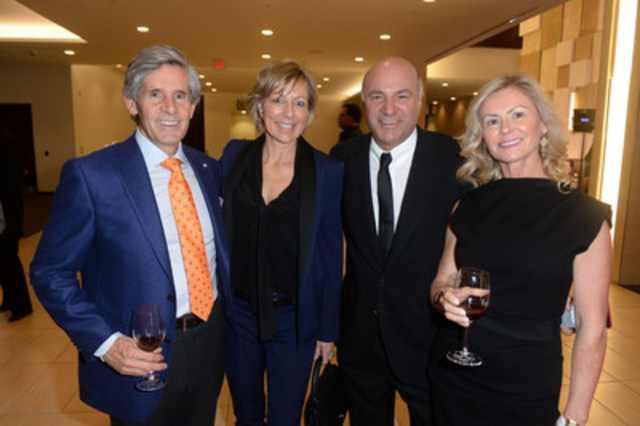 Rob McEwen, Canadian businessman, Chairman and CEO of McEwen Mining Inc., Linda O'Leary, Kevin O'Leary, Canadian business man, philanthropist and TV personality (Shark Tank, Dragon's Den), Cheryl McEwen, Grand Cru 2015 Co-Chair at the 11th annual Grand Cru Live Auction on Thursday, October 29, 2015 at the Allstream Centre. (CNW Group/Toronto General & Western Hospital Foundation)
