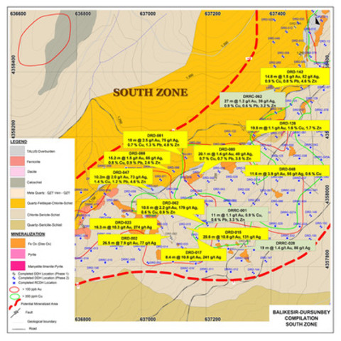 Figure 4: Plan Showing Dursunbey South Zone Significant Drill Assay Results in 2014 (CNW Group/Alacer Gold Corp.)