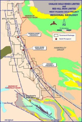 Figure 1 - West Pilbara Gold Project Regional Geology (CNW Group/Chalice Gold Mines Limited)