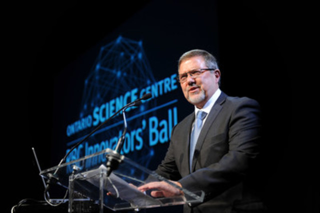 Dr. Maurice Bitran, CEO, Ontario Science Centre, addresses guests at the RBC Innovators' Ball, the Ontario Science Centre's signature fundraiser for community access programs. (photo credit: George Pimental Photography)  (CNW Group/Ontario Science Centre)