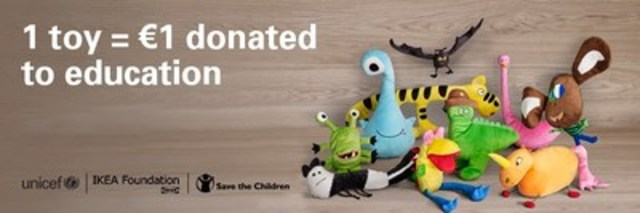 IKEA Canada kicks off Soft Toy campaign to spread the power of education featuring a new selection of kid designed IKEA soft toys. (CNW Group/UNICEF Canada)