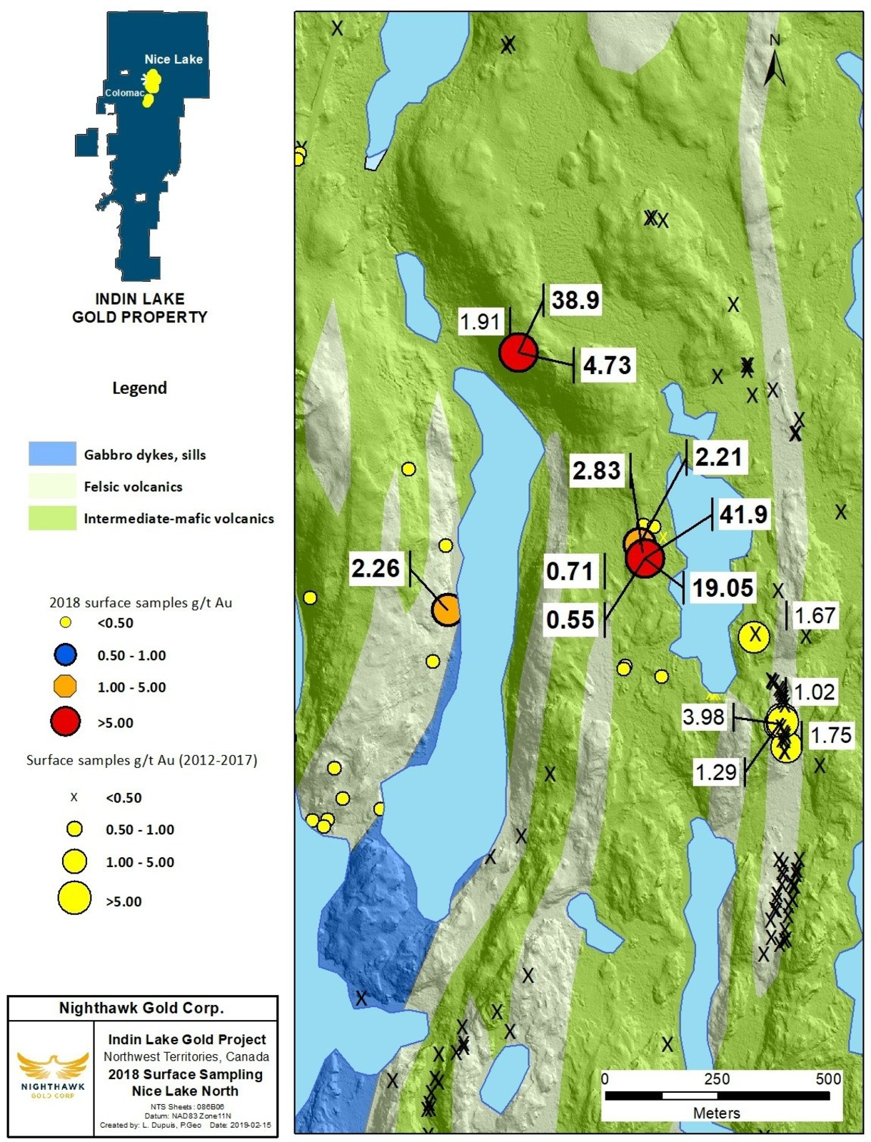 Figure 3. Nice Lake North Sample Location Map and Select Surface Sample Results