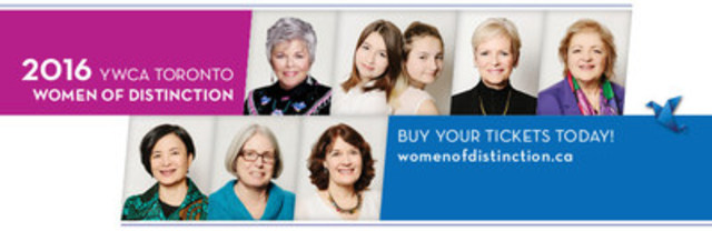 YWCA Toronto today announced the 2016 Women of Distinction. Top row (l-r) Roberta L. Jamieson (President's Award); Tessa Hill and Lia Valente (Young Women of Distinction); Colleen Johnston (Corporate Leadership); Georgia Quartaro (Education). Bottom Row (l-r) Reeta Roy (International Development); Elizabeth Shilton (Law & Justice); and Dr. Cheryl Wagner (Health). For more info www.womenofdistinction.ca (CNW Group/YWCA Toronto)