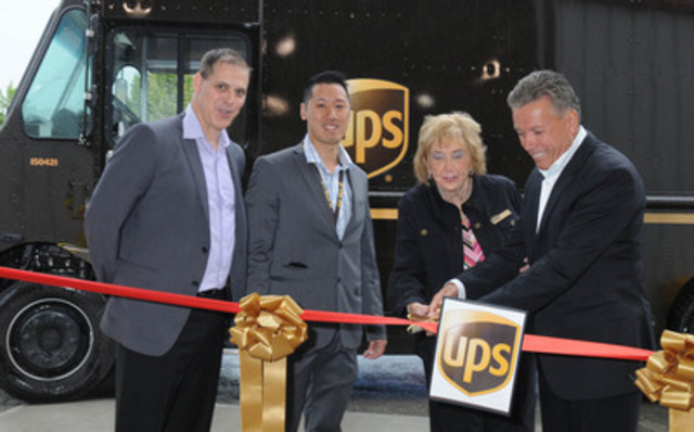 David Mason, division manager, UPS Canada, Benson Hui, Kamloops Operations Supervisor and UPS Canada President Michael Tierney join Deputy Mayor Pat Wallace of the City of Kamloops to officially celebrate the opening of UPS's Kamloops centre with a ribbon cutting. UPS's pickup and delivery service began in Kamloops on August 18. August 28th also represents UPS Founders Day, 107 years of service globally. (CNW Group/UPS Canada Ltd.)