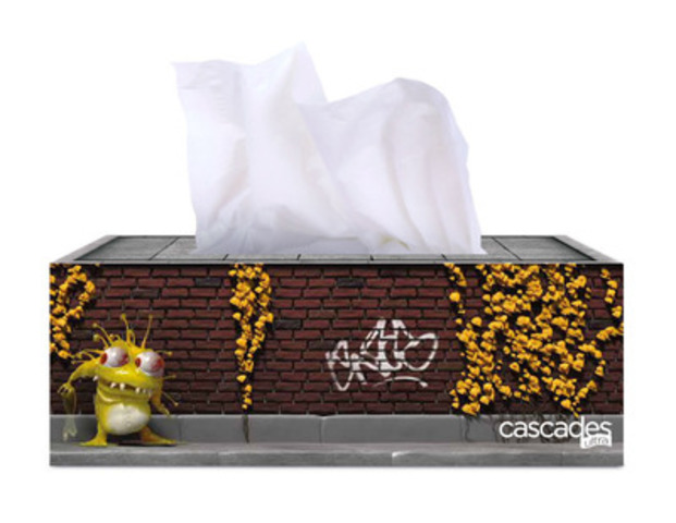 Tissue boxes bearing printed information promoting the flu vaccine; the brainchild of ad agency kbs+ montreal ...