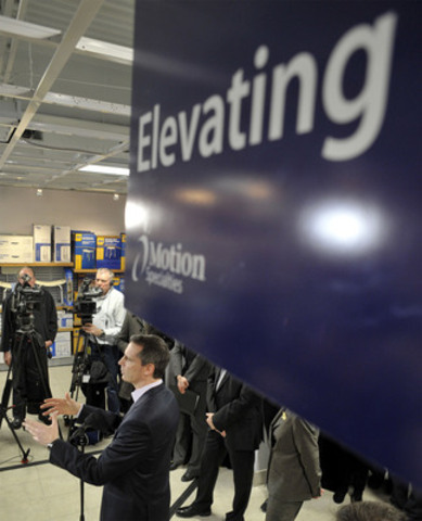 Ontario Premier Dalton McGuinty talks with media about the proposed Healthy Homes Renovation Tax Credit, at Motion Specialties' newest retail location in Toronto (CNW Group/Centric Health Corporation)