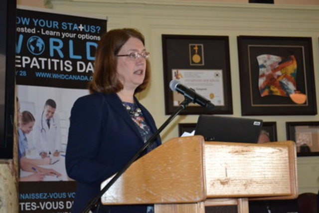 Honourable Jane Philpott speaks about Canada's commitment to eliminate Hepatitis by 2030 (CNW Group/Canadian  Society for International Health (CSIH))