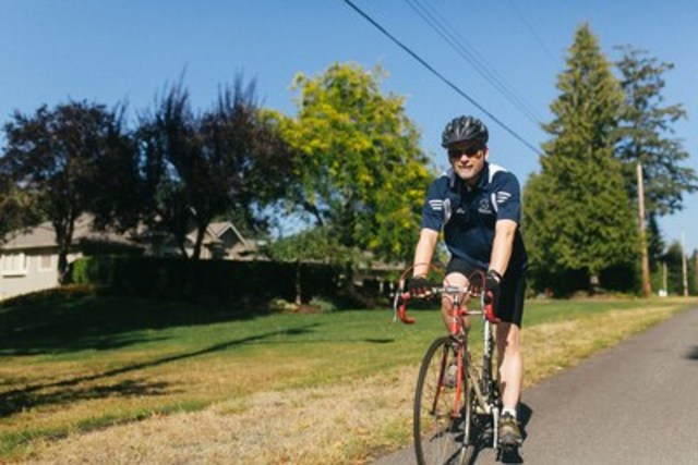 TWU's President Bob Kuhn practices for the Tour de Fox happening this Saturday, August 20, 2016, in Langley, BC. Trinity Western University (CNW Group/Trinity Western University)