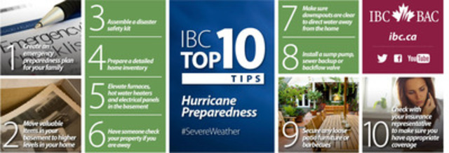 IBC Top 10: Tips for hurricane preparedness (CNW Group/Insurance Bureau of Canada)