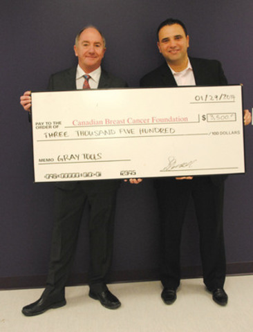 Gary Nuttall, President of Gray Tools with Anthony Miceli, Senior Director, Corporate Partnerships, of the Canadian Breast Cancer Foundation (CNW Group/Gray Tools)