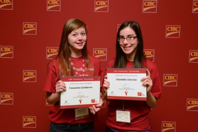 Winnipeg's Cassandra Sanderson and Chantelle Chernick celebrate winning 2013 CIBC Youthvision Scholarships at event in Toronto - Scholarship winners from across Canada gathered in Toronto for a full-day inspirational event last week. The scholarship program is celebrating its 15th year and over 450 lives changed since 1999. (CNW Group/CIBC)