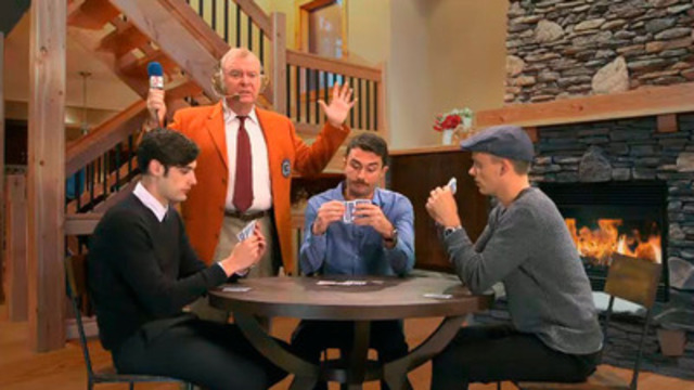 """Video: One of twenty-seven unique videos developed for the LCBO Guys Drinks Switch It Up campaign featuring a guys' night in with a """"sportscaster playing cards in a chalet""""."""