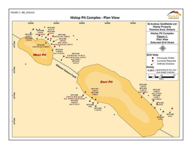 FIG 1 - Plan View - Hislop Pit Complex (CNW Group/St Andrew Goldfields Ltd.)