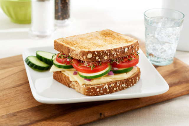 Veggie Hummus Crunch - This filling, easy-to-make Veggie Hummus Crunch sandwich will allow you to satisfy that craving for a filling and delicious spread while sticking to your healthy-eating goals. (CNW Group/Canada Bread)